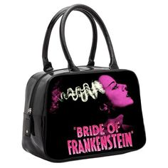 "This bowler bag features Elsa Lanchester as the Bride of Frankenstein in the 1935 classic horror movie by Universal Pictures. Made of vegan black vinyl, this bag contains an inner zip pocket and cell phone holder, full zip closure, and handles with fully detailed pink Bride of Frankenstein graphic. Black Satin Interior. D: 12"" L by 9"" H by 4.5"" W Top Handle Drop: 6"""