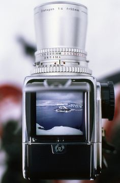 One of Man's masterpieces - a Hasselblad, fitted with (a borrowed and ever-so-beautiful) 50mm chrome lens, meets one of Nature's masterpieces: a wintery Crater Lake.