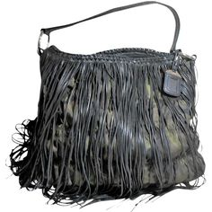 Pre-owned Prada Long Lambskin Fringe Hobo Bag ($1,299) ❤ liked on Polyvore featuring bags, handbags, shoulder bags, prada shoulder bag, shoulder strap bag, black hobo shoulder bag, black fringe shoulder bag and black purse