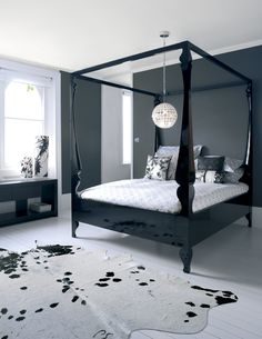 Modern 4 Poster Bed modern 4 poster bed - four poster bed black lacquer … | pinteres…