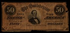 $50 Confederate CSA Currency, Type 66, Plate AW, Dated February 17th, 1864 Printed by Keatinge & Vall, Columbia, S.C. Serial Number 7362, Light Red Front and Blue Reverse, in circulated condition with