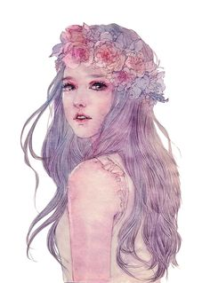❥●❥ ♥ ♥❥●❥Watercolor ~ By Enofno Kunst Inspo, Art Inspo, Watercolor Girl, Watercolor Paintings, Watercolour, Cover Wattpad, Arte Pop, Illustration Girl, Beauty Art