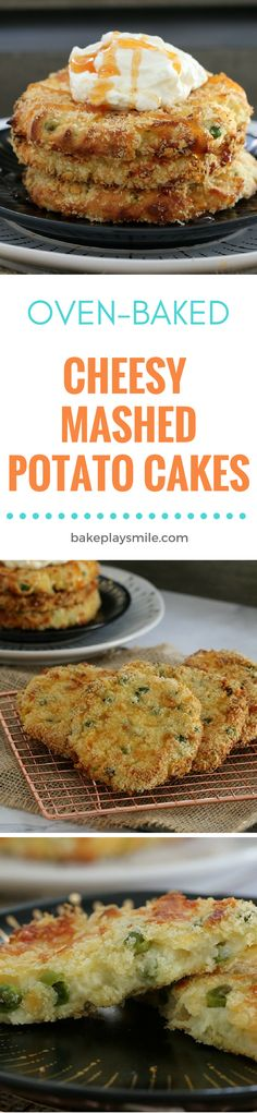 Oven Baked Cheesy Mashed Potato Cakes