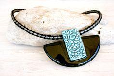 Black and turquoise ceramic necklace, Ceramic statement necklace, Clay jewelry, Ceramic pendant, Ceramic collar, Christmas necklace