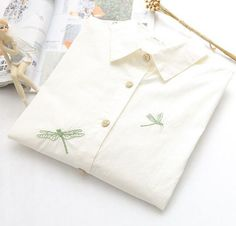 fresh dragonfly embroidery Turn-down collar long sleeve pullover shirt blouse girl
