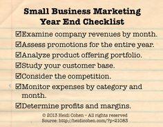 Small Business Marketing Year End Checklist via @Heidi Haugen Cohen