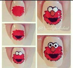 Elmo nail art tutorial