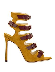 Jimmy Choo Trick Buckled Suede Pump: Yellow: Buckled straps detail the vamp on… Stiletto Pumps, Suede Pumps, Boot Socks, Designer Heels, Hot Shoes, Yellow And Brown, Manolo Blahnik, Designing Women, Jimmy Choo