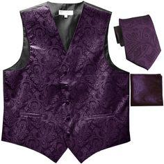 New Men's Formal Vest Tuxedo Waistcoat Necktie Set Paisley Wedding Dark Purple | eBay