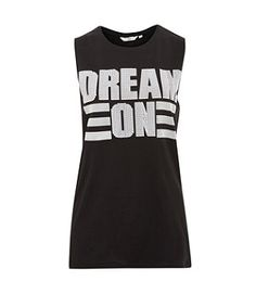 In your dreams! Get the message across in this loud and proud 'Dream On' slogan tank, perfect with raw edge denim shorts and a leather jacket for a tough rock'n'roll style. £12.99  #newlookfashion #top #slogan