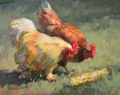 Food Critics by Linda Volrath Oil ~ 8 x 10 Chicken Painting, Food Painting, Chicken Art, Painting & Drawing, Small Paintings, Paintings I Love, Animal Paintings, Rooster Painting, Rooster Art
