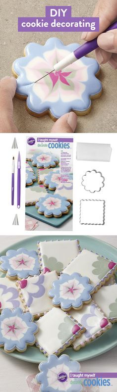 Learn how to decorate cookies with royal icing using this easy DIY set. The I Taught Myself Cookie Decorating Book Set features inspiring projects featuring step-by-step instructions with pictures. It(Baking Cookies Pictures) Fancy Cookies, Cut Out Cookies, Iced Cookies, Cute Cookies, Cookies Et Biscuits, Cupcake Cookies, Baking Cookies, Summer Cookies, Cake Baking