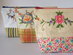 Patchwork pouches Some new pouches ready for my next market, using vintage embroidery paired with new fabrics. Embroidery Designs, Embroidery Bags, Embroidery Transfers, Vintage Embroidery, Crewel Embroidery, Fabric Crafts, Sewing Crafts, Sewing Projects, Vintage Sheets