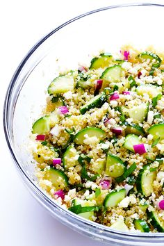 This Cucumber Quinoa Salad is made with lots of fresh basil and feta, tossed with a simple lemony vinaigrette, and it's SO fresh and delicious!