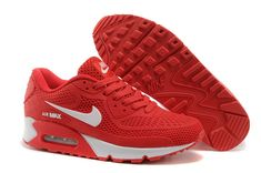 Womens Nike Air Max 90 red white shoes