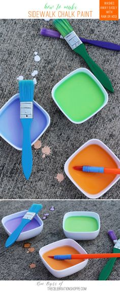 Want a little inexpensive summer fun for the kiddos? For the Summer Issue of All You magazine I contributed an article sharing How To Make Sidewalk Chalk Paint. It's super easy to whip up and cleans up easily with rain… Continue Reading Summer Activities, Craft Activities, Toddler Activities, Projects For Kids, Diy For Kids, Crafts For Kids, Art Projects, Outdoor Projects, Summer Crafts