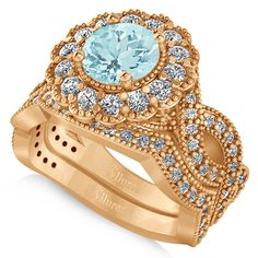 This rose (pink) gold bridal set features a flower halo engagement ring with a aquamarine surrounded by of diamond accents on the ring and wedding band. Rose Gold Band Ring, Rose Gold Diamond Ring, White Gold Wedding Rings, White Gold Rings, Thing 1, Bridal Sets, Halo, Jewelry Rings, Jewelery