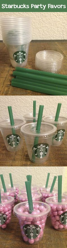 Starbucks Birthday Party - Party Favors… Asked for sample cups at Starbucks and cut straws down to size.  Used lids from Diamond Multi-Purpose Mini Cups and cut an X in the center for the straw.  Filled cups with Sixlets candies.  The kids loved them!