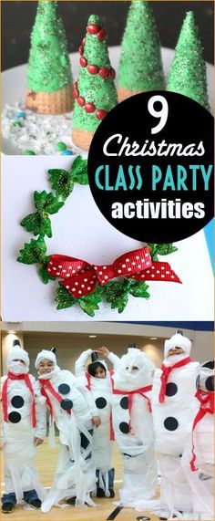 9 Christmas Party Ideas.  Holiday class party games and activities.  Christmas parties for kids.
