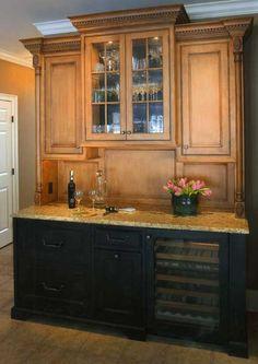 wood/distressed black cabinets