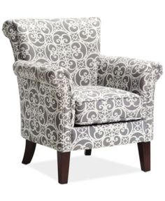 JLA Sarah Printed Fabric Accent Chair, Direct Ship - Shop All Living Room - Furniture - Macy's Turquoise Accent Chair, Grey Accent Chair, Grey Chair, Turquoise Accents, Living Room Grey, Living Room Chairs, Living Room Furniture, Dining Chairs, Nursery Chairs