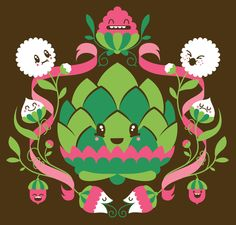 Loulou and Tummie's artichoke flowers. Love the colors and lines in this illustration!