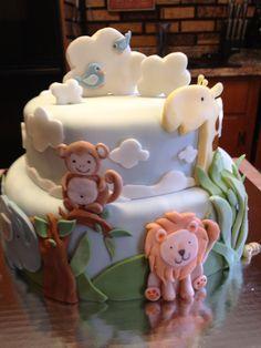 Jungle baby shower cake