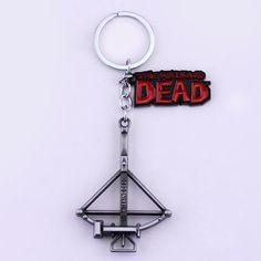 Livraison Gratuite Film Série Nouvelle Conception De Mode Accessoires Films D'horreur The Walking Dead Arbalète Pendentif Antique Argent Porte-clés
