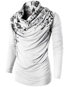 H2H Mens Unique Slim fit Fashionable Designed Shirring Long Sleeve T-shirts WHITE US M/Asia L (KMTTL0252)