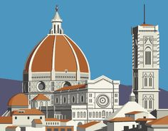Torre del Batisterio, Florencia, Italia  Dibujo vectorial.