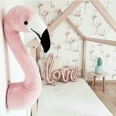 adorable stuffed flamingo head and house bed