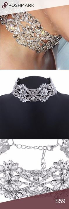 New diamond chocker! New elegant bling choker perfect for wedding, cocktail party, anniversary party, anywhere you where you want to make a statement. This is so beautiful. Jewelry Necklaces