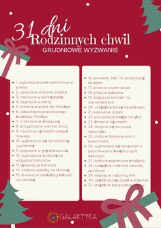 rodzinne wyzwanie na grudzień Polish Language, Christmas Challenge, Kids Room Design, Organize Your Life, Simple Life Hacks, Raising Kids, Christmas Inspiration, Kids And Parenting, Kids Learning