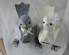 Wedding Cake Topper Love birds  Mr and Mrs by strawberriesandcream, $75.00