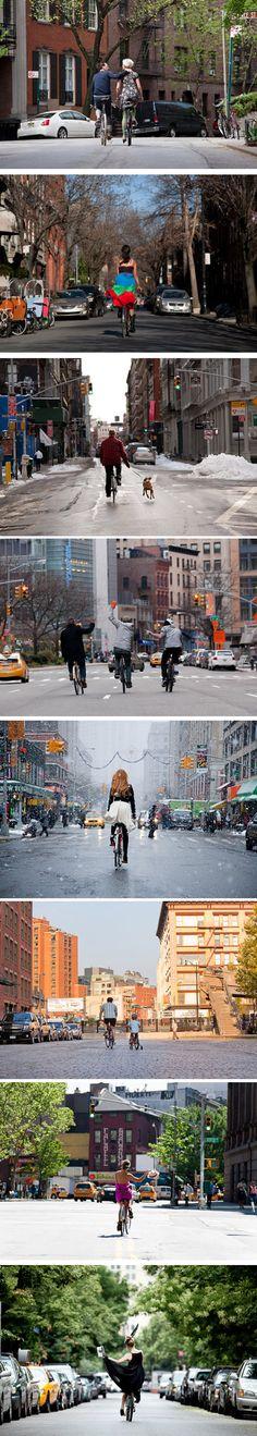 Fotógrafo registra ciclistas pela cidade de Nova York