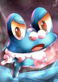 It's Froakie, the Water-type Starter Pokemon of Kalos. Pokemon Team, Pokemon Memes, Pokemon Fan Art, Lapras Pokemon, Kalos Pokemon, Mega Pokemon, First Pokemon, Pokemon Pins, Pikachu Pokeball