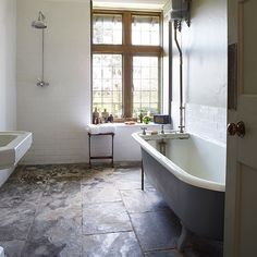 Country bathroom with slate floor   Bathroom decorating   Country Homes and Interiors   Housetohome.co.uk