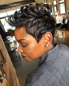 Short Black Hairstyles, Pixie Hairstyles, Cool Hairstyles, Black Pixie Haircut, Haircuts, Short Sassy Hair, Short Hair Cuts, Pixie Cuts, Finger Waves Short Hair