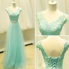 Mint Green New V-neck Long Prom Dresses 2015 Tulle with Lace Sleeveless Beaded Floor Length A-line Lace Up Cheap Homecoming Party Dress Gown Online with $115.54/Piece on Marrysa's Store | DHgate.com