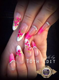 Pink stiletto french with floral one stroke