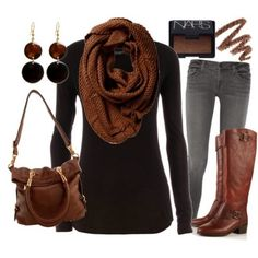 Brown scarf, black dress, grey pants, handbag and brown long boots for fall