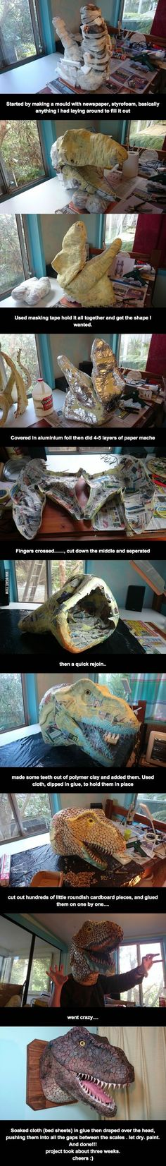 Papel mache T-Rex! Paper Mache Clay, Paper Mache Sculpture, Paper Mache Crafts, Paper Clay, Diy Paper, Paper Art, Ceramic Sculptures, Dinosaur Head, Dinosaur Party