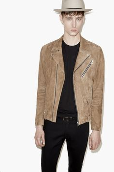 Suede Biker Jacket - Men - The Kooples SS16 www.thekooples.com