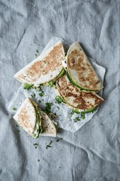 Quesedillas with feta, hummus and avocado