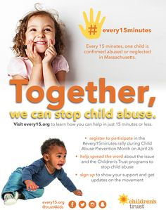 #Every15Minutes, one child is confirmed abused or neglected in Massachusetts. You can help!
