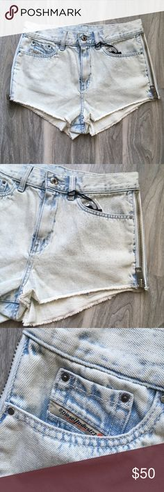 Diesel Faded baby blue ripped jeans NWT Diesel faded baby blue ripped shorts 26 NWT. Has zippers on the side. Original was $168. They're really cute. Diesel Shorts Jean Shorts