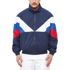 Sport jacket 2 from the S/S2016 Gosha Rubchinskiy collection in navy This jacket from Gosha Rubchinskiy new collection comes in a regular fit. The jacket, here in navy, is made of polyester and features a zipped front, two side pockets and elasticated cuffs and bottom. - Zipped closure jacket - Two side pockets - Elasticated cuffs and bottom - Composition: face 100% Polyester - coating 100% Polyurethane - lining 100% Polyester - Made in Romania - Code: G008J003 A - The model is wearing a...