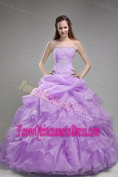 New Arrival Strapless Lilac Organza Dresses for Quinceaneras with Ruffles