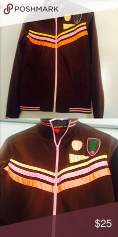 U.S.S Polo Track Jacket Brown U.S.S Polo track jacket only worn a couple of times. I have had this Jacket for about 10 years so you can say its vintage. Its 💯 % polyster. U.S. Polo Assn. Other