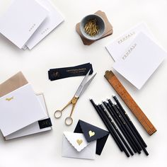 gold foil stationery and desk accessories | Smitten on Paper